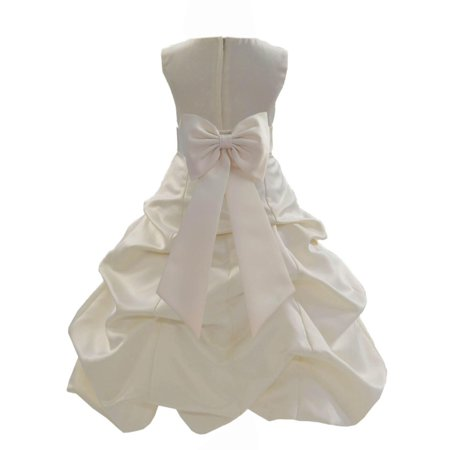 Christmas Clothing (Ekidsbridal Ivory Satin Bubble Pickup Christmas Party Bridesmaid Recital Easter Holiday Wedding Pageant Communion Princess Birthday Clothing Baptism 808 Flower Girl)