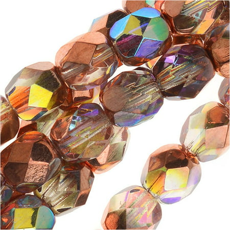 Czech Fire Polished Glass, Faceted Round Beads 6mm, 25 Pieces, Crystal Copper Rainbow