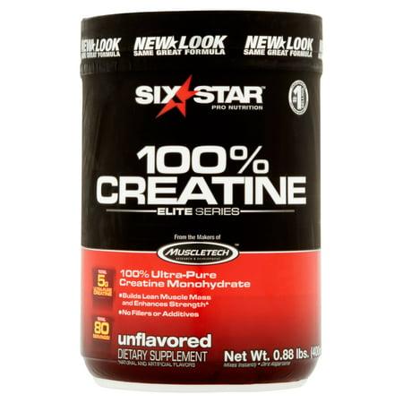six star pro nutrition Série Elite Unflavored 100% Créatine en poudre, 0,88 lb