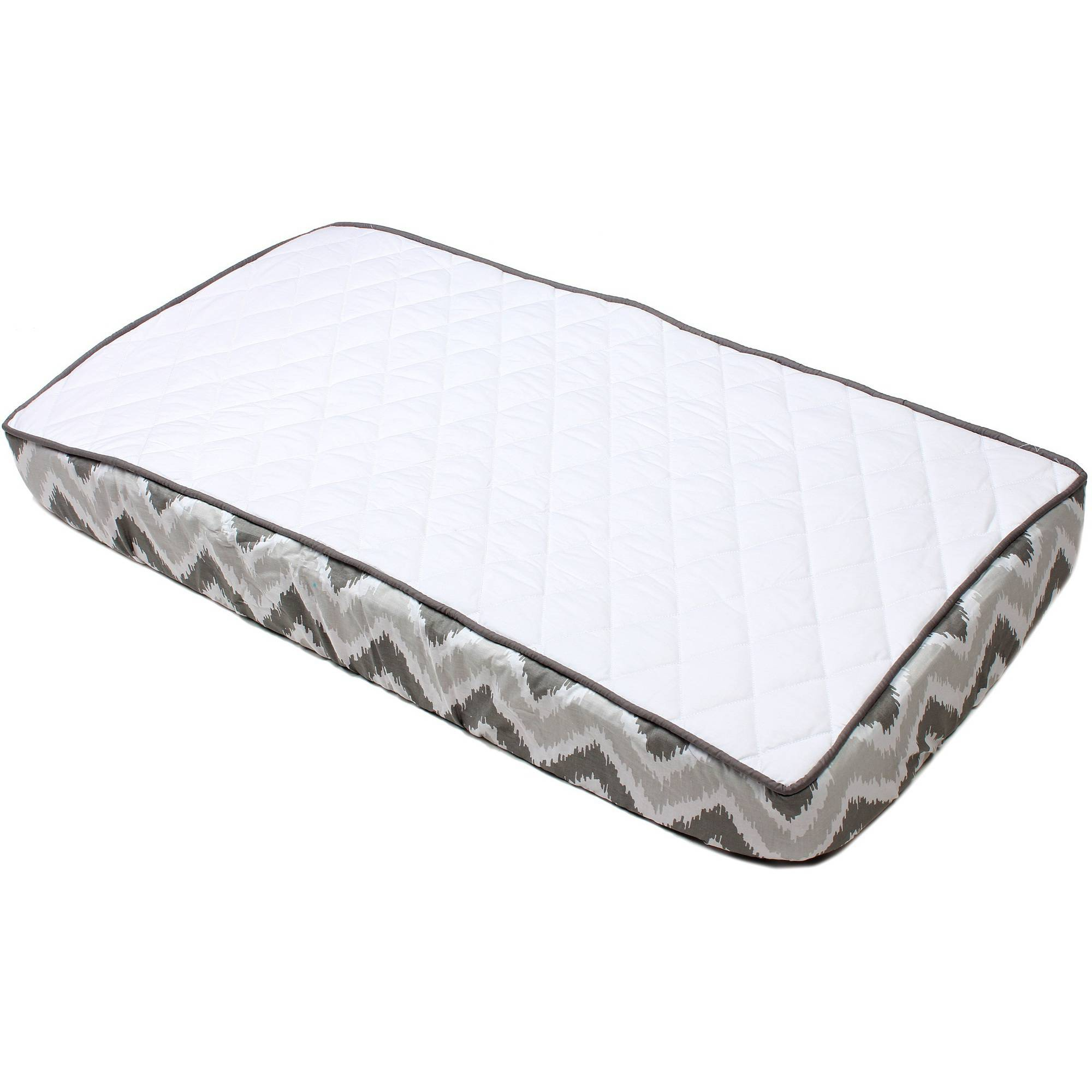 Bacati - MixNMatch Solid White Quilted Top 100% Cotton Percale with Polyester Batting With Grey Zigzag Gussett Diaper Changing Pad Cover, Grey