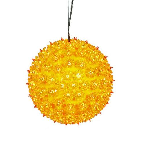 """10"""" Yellow Lighted Hanging Star Sphere Christmas Decoration"""