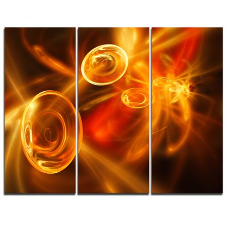 Design Art Yellow Fractal Desktop Wallpaper   3 Piece Graphic Art On Wrapped Canvas Set