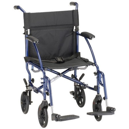 Nova Medical Products Lightweight Transport Chair  Blue  18 Inch  20 Pound