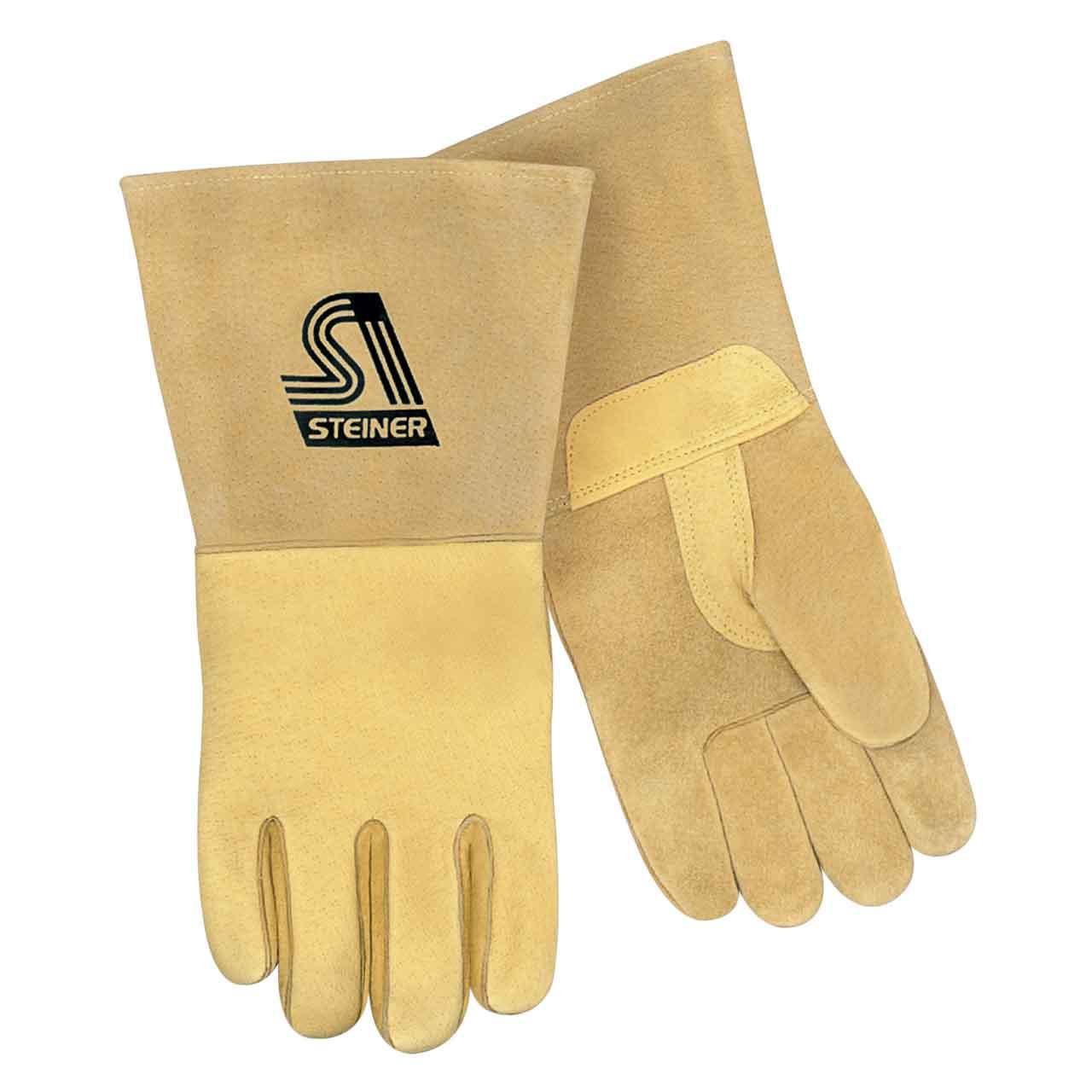 Steiner P750 Pigskin MIG Stick Welding Gloves, Unlined Palm, Thermocore Foam Back, Long Cuff, Medium