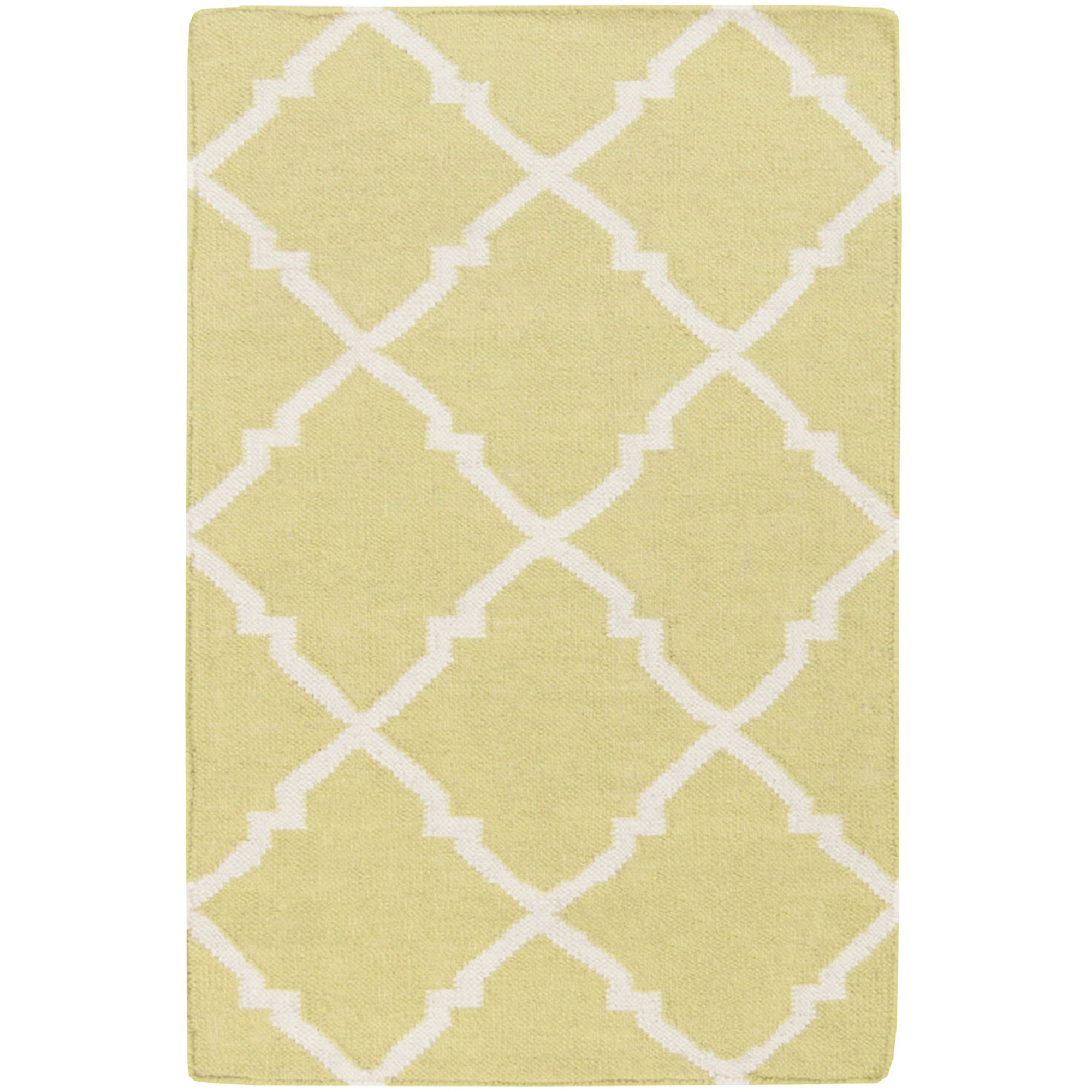 Art of Knot Prichard Hand Woven Gate Scroll Flatweave Wool Area Rug, Lime