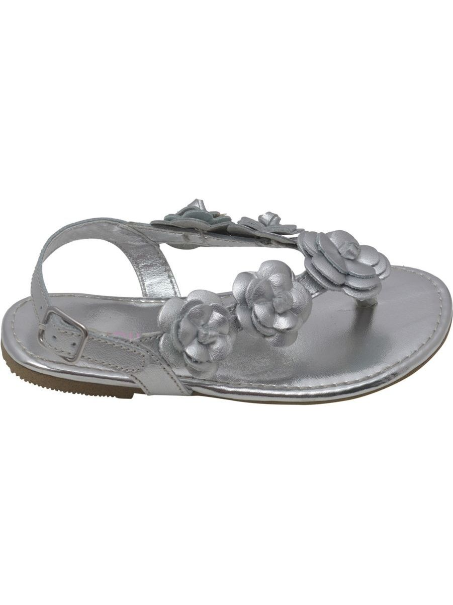 L'Amour Buckle Girls Silver Flower Blossom Accent Buckle L'Amour Thong Sandals 11-4 Kids e4e16c