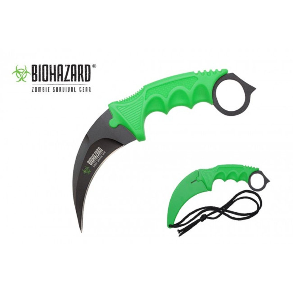 "Curved Biohazard Green Karambit Knife Zombie 7.5"" Stainless Steel Blade"