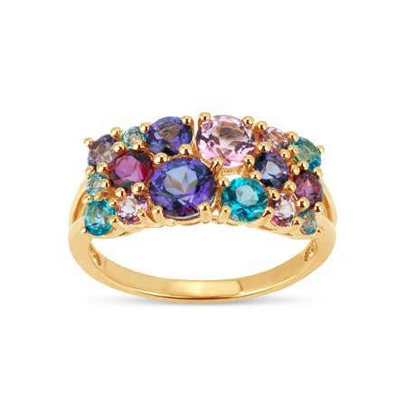 Genuine Multi Color Gemstone Ring (Multi Color Topaz Swarovski Genuine Gemstone 18kt Gold Over Sterling Silver Cluster Ring )
