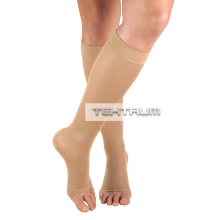 Tektrum - A Pair of Knee High Firm Graduated Compression Socks 23-32mmHg for Men & Women - Best for Maternity Pregnancy, Sports, Flight Travel - Open Toe, Beige, Large US/X-Large EU