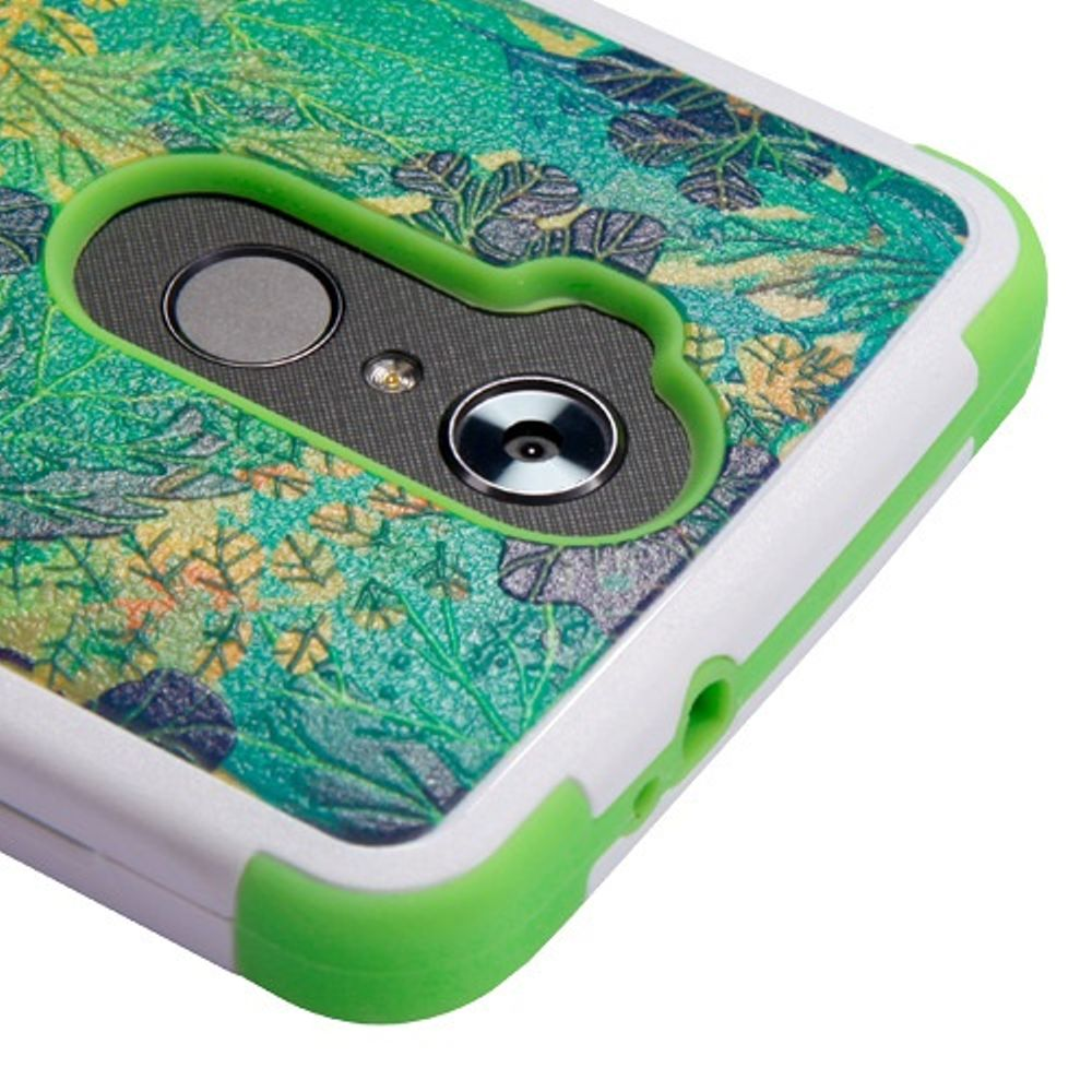ZTE Blade Max 3 Case, ZTE Max Blue Case, ZTE Max XL Phone Case, by Insten Tuff Oil-Painting Leaves Dual Layer Hybrid Stand PC/TPU Rubber Case Cover for ZTE Blade Max 3/Max Blue/Max XL N9560 - Green - image 1 de 3