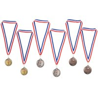 Gold Silver Bronze Medals - 2-Set 1St 2Nd 3Rd Metal Olympic Style Winner Awards, Perfect For Sports, Competitions, Spelling Bees, Party Favors, 2.75 Inches Diameter With 16.3 Inch Usa Ribbon