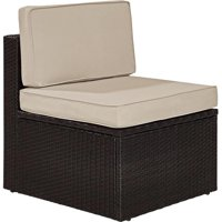 Palm Harbor Outdoor Wicker Center Chair with Sand Cushions - Brown