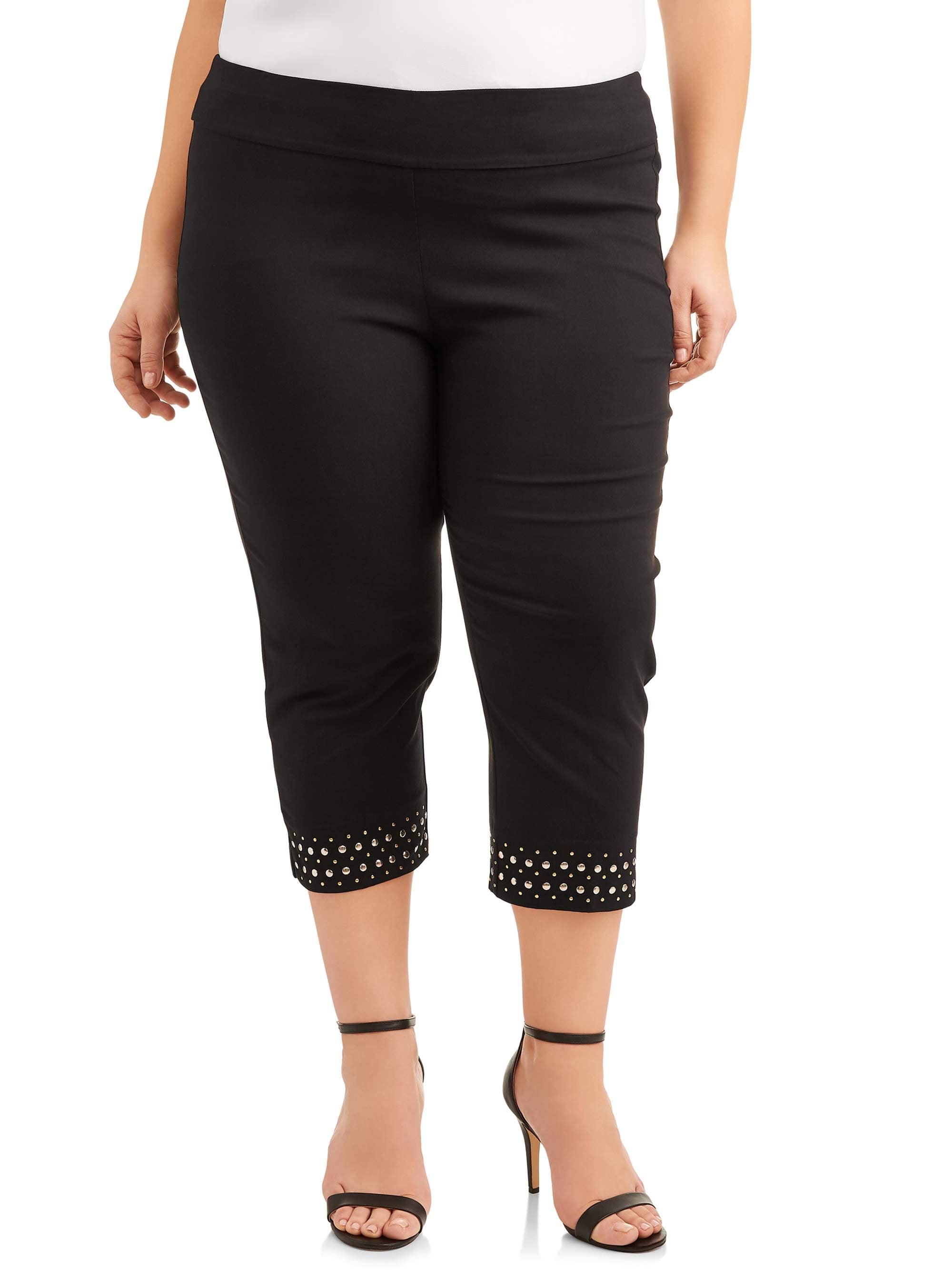 Women's Plus Size Stretch Woven Crop with Grommet Trim Pant