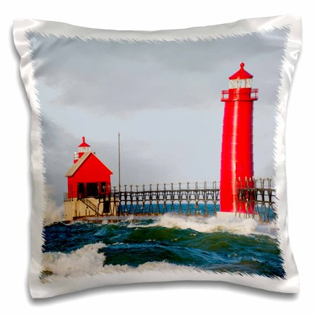 - 3dRose Grand Haven South Pier Lighthouse, Lake Michigan, Grand Haven, MI - Pillow Case, 16 by 16-inch
