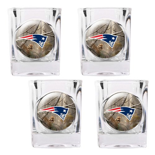 NFL - New England Patriots Open Field 4pc. Square Shot Glass Set
