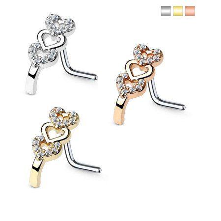 - Nose Ring L-Bend 1pc CZ Gem Paved Triple Heart 20g 18G Nose Crawler Stud Screw