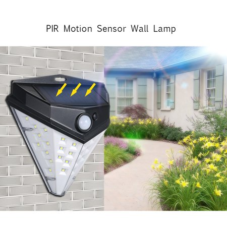 32 LEDs Diamond Shape Solar Lamp PIR Motion Sensor Wall Lights Waterproof IP44 Sensing Mode Mounting Night Secury Lighting for Garden Driveway - image 3 of 7