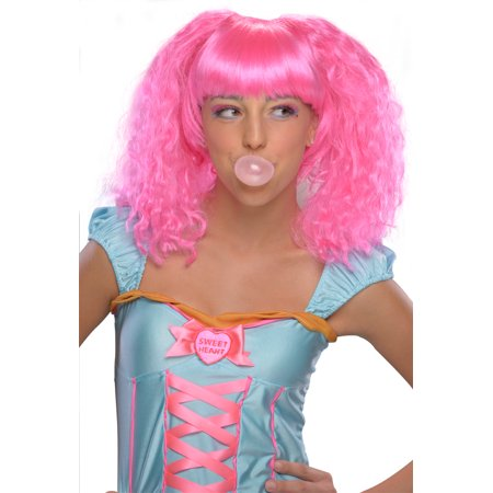 Bubble Gum Costume Wig Adult: Pink One Size - Pink Wigs For Sale