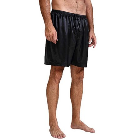 Men's Summer Lounge Sleepwear Underwear Slik Satin Boxers Shorts Nightwear Pyjamas Black S
