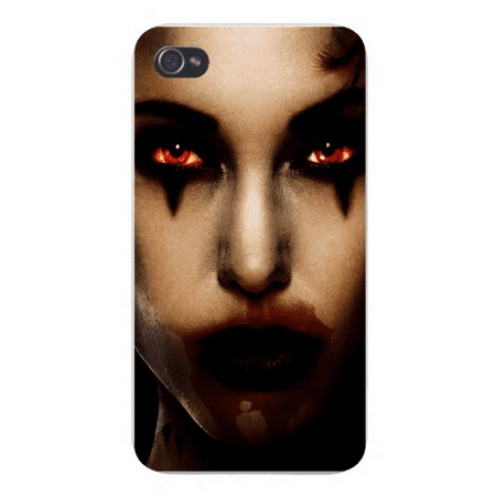 Bloody Face (Apple Iphone Custom Case 5 / 5s AND SE White Plastic Snap on - Girl Face w/ Black Eyeliner & Bloody Lips Staring Scary)