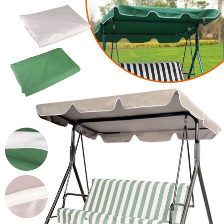 Patio Outdoor Garden Swing Canopy Replacement, 66 x 45inch UV30+ Resistant Waterproof Polyester Top Cover for Porch Bench Swing Chair Seat, with 4 Strengthened Corner Pockets(Green/Khaki) ()
