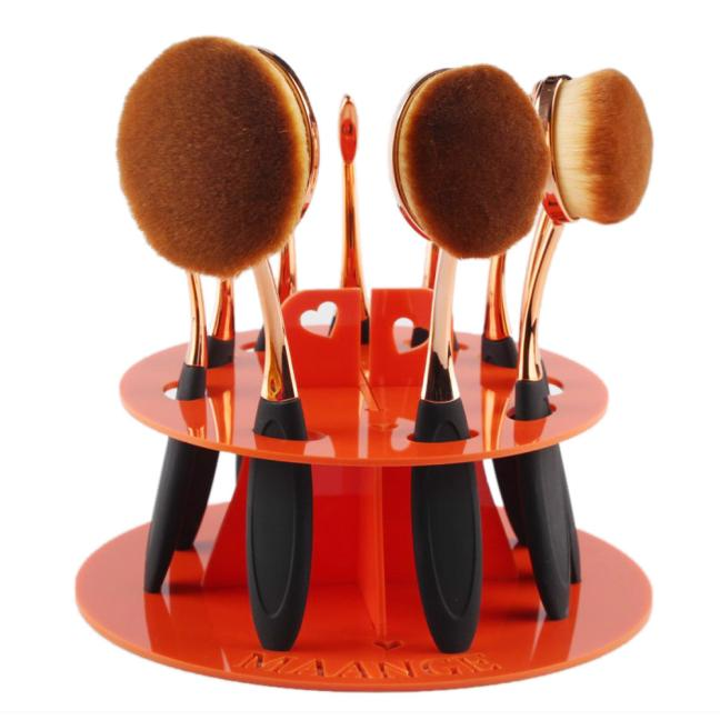 DZT1968 10 Hole Oval Makeup Brush Holder Drying Rack Organizer Cosmetic Shelf Tool OR