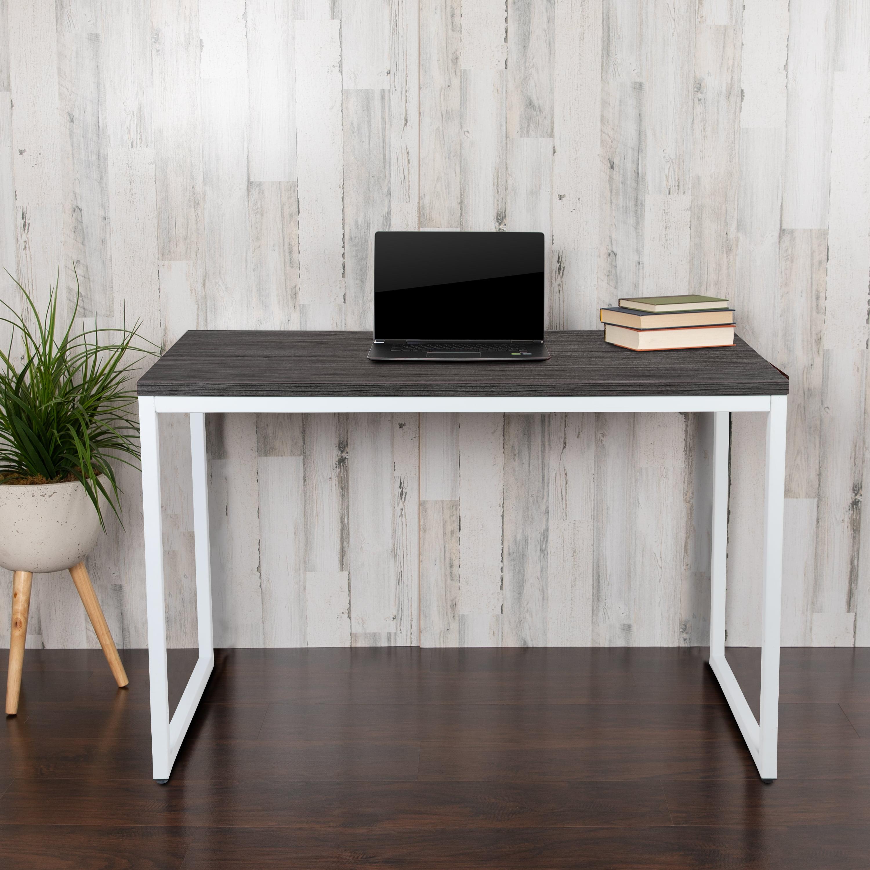 Flash Furniture Commercial Grade Industrial Style Office Desk 47 Length Rustic Gray Walmart Com Walmart Com