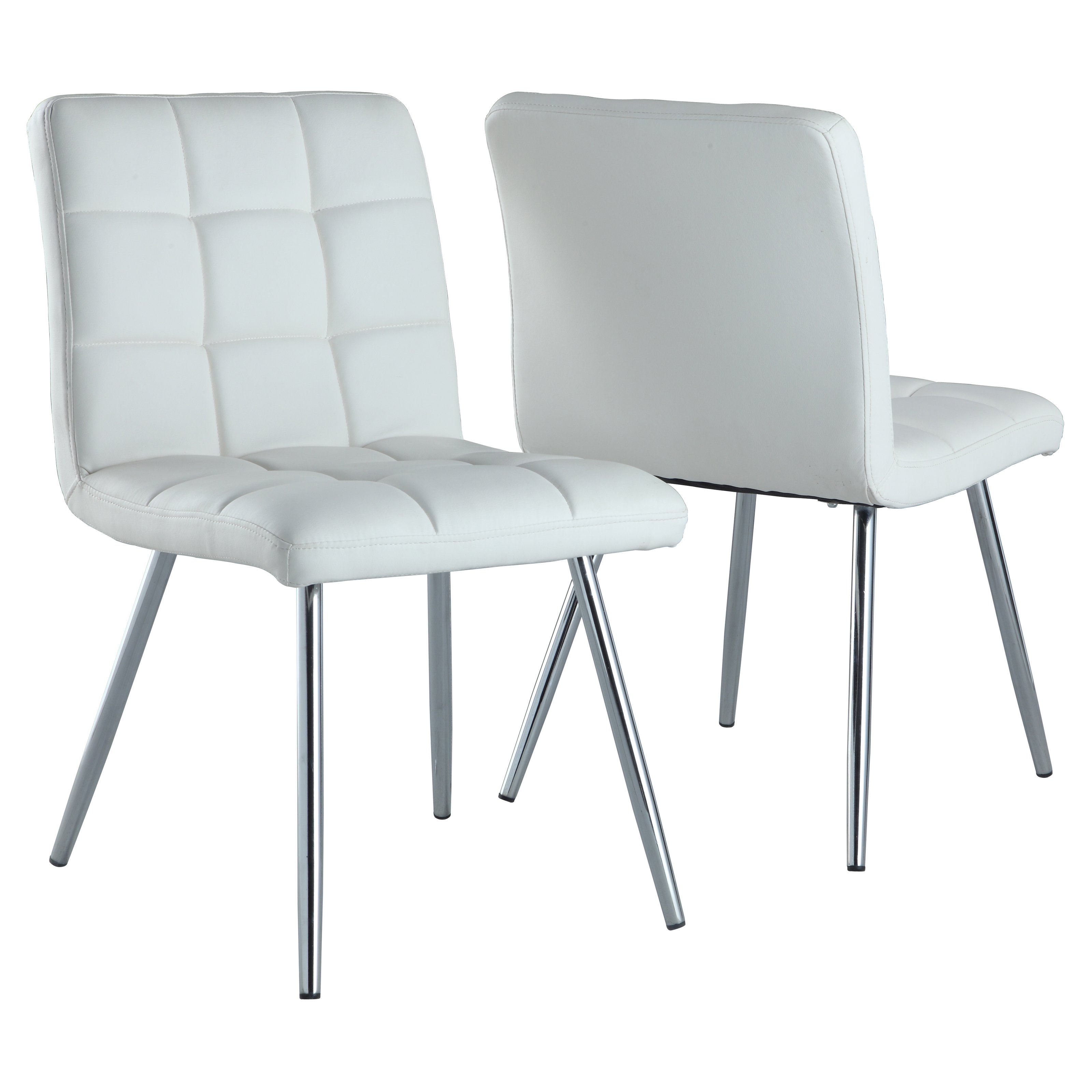 "Monarch Dining Chair 2Pcs / 32""H / White LeatherLook / Chrome"