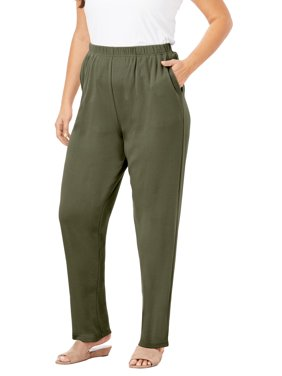Roaman's Women's Plus Size Straight-Leg Soft Knit Pant