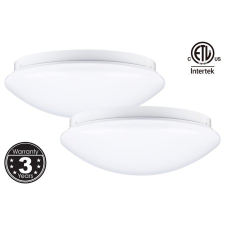 (LEONLITE LED Flush Mount Ceiling Light, 16W Dimmable Ceiling Light Fixture, 12 inch 5000K Daylight, Pack of 2)