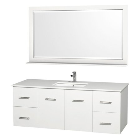 "Wyndham Collection Centra 60"" Single Bathroom Vanity, Matte White, White Man-Made Stone Countertop, Square Porcelain Undermount Sink and 58"" Mirror"