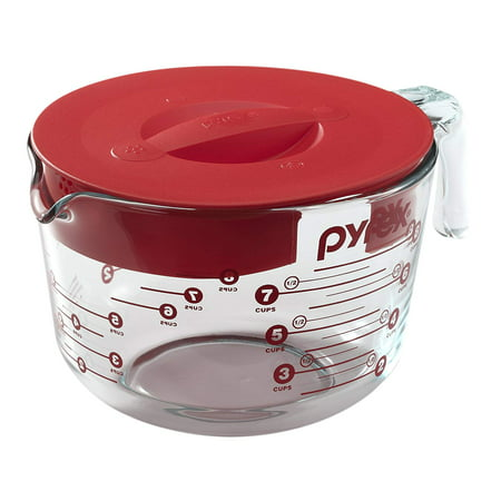 Prepware 8-Cup Glass Measuring Cup with Lid, Includes (1) 8-Cup Glass Measuring Cup with Red Lid and Graphics By Pyrex ()
