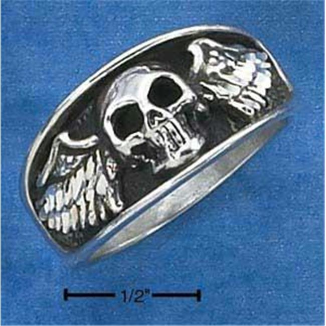 Sterling Silver Mens Skull with Wings Ring - Size 11