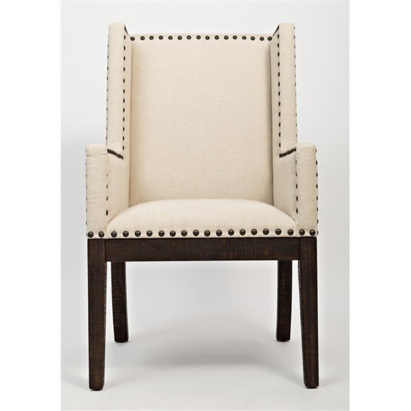 Bowery Hill Upholstered Dining Armchair in Bisque and Coffee by Bowery Hill