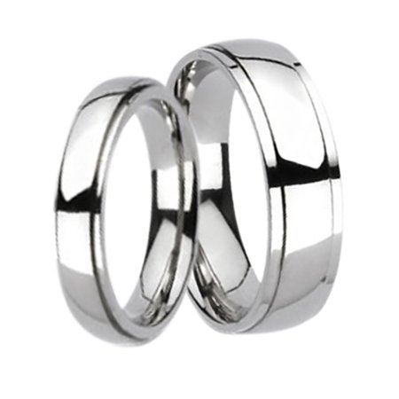 Matching His and Hers Wide Titanium Wedding Bands Ring Set for Him and Her