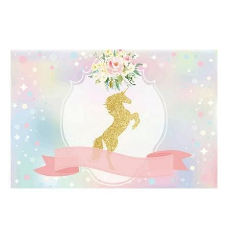 7x5FT/3x5FT Unicorn Ribbon Flowers Baby Shower Party Custom Photo Backgrounds Backdrop - Custom Backdrop