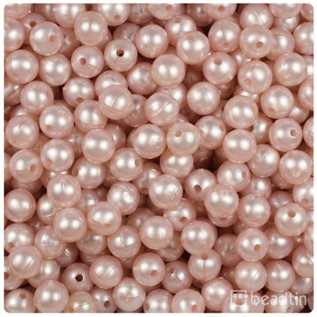 BeadTin Light Rose Petal Pearl 8mm Round Craft Beads (300pcs) (Six Petals Flower Beads)