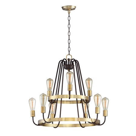 Brass Light Fixture (Chandeliers 9 Light Bulb Fixture With Oil Rubbed Bronze and Antique Brass Finish Steel Material MB Bulbs 27 inch 540 Watts)