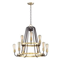 Chandeliers 9 Light Bulb Fixture With Oil Rubbed Bronze and Antique Brass Finish Steel Material MB Bulbs 27 inch 540 Watts
