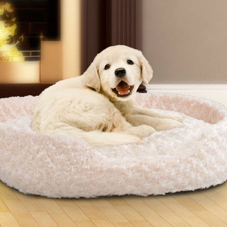 PETMAKER Large Cuddle Round Plush Pet Bed