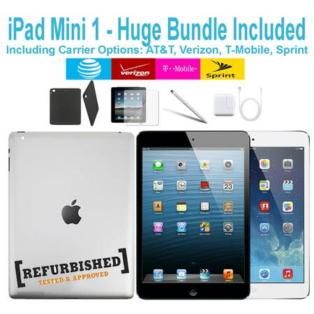 (Refurbished) Apple iPad Mini 1 Generation 64GB Black - T-Mobile Plus WiFi - Bundle - Case, Rapid Charger, Pre-Installed Glass & Stylus Pen ---- FREE 2 Day