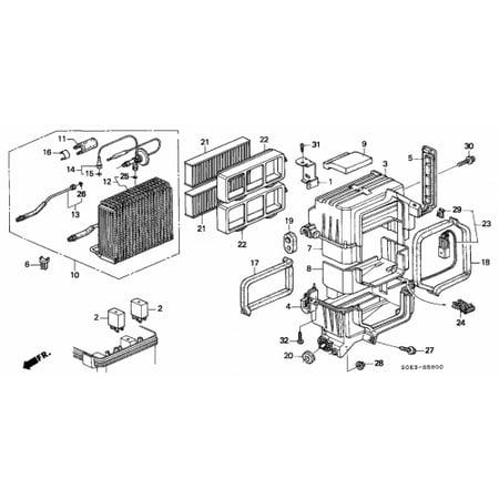 Honda 80292-S84-A01 Cabin Air Filter Frame Honda Accord