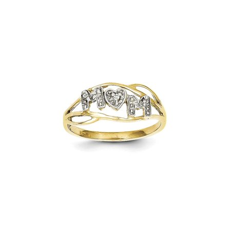 Solid 10k Yellow and White Gold Two Tone Mom Ring (2mm) - Size