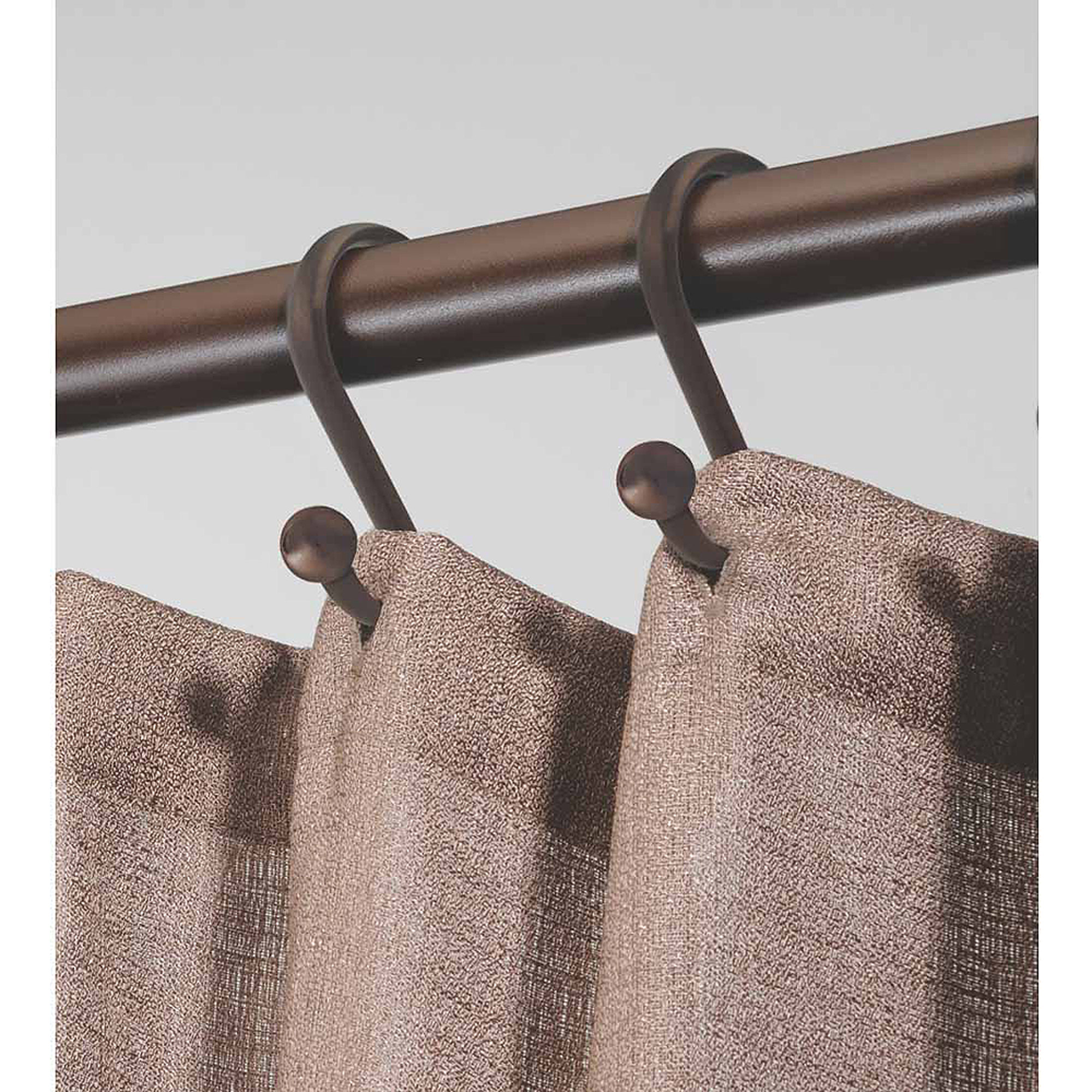 InterDesign Axis Shower Curtain S-Hooks with Ball Detail, Set of 12, Bronze
