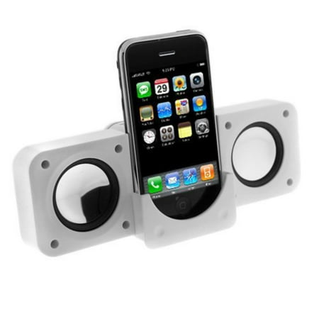 White Mini iPod Speakers for iPhone 5 5s SE 4 4GS 3 3GS iPod Nano 3rd Generation, iPod Touch, iPod Classic, iPod Video, iPod Nano, iPod Photo, Microsoft Zune,.., By Colordrives,USA ()