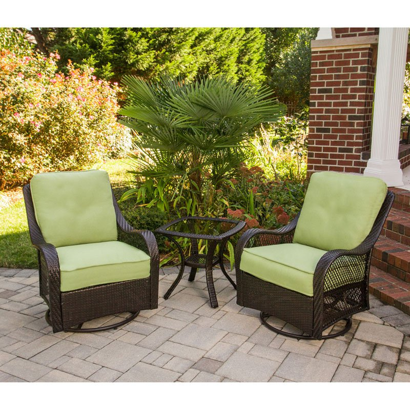 Hanover Orleans 3-Piece Outdoor Swivel Rocking Chat Set