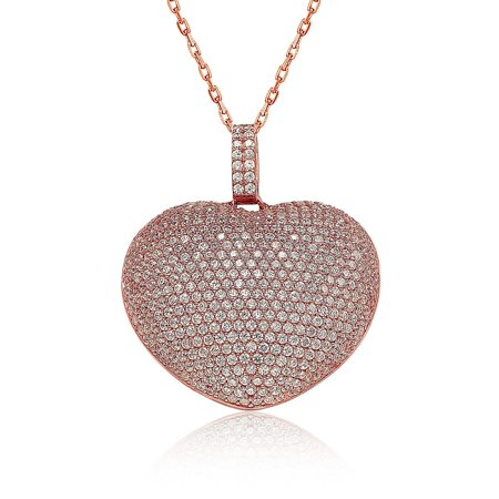 Suzy levian sterling silver micro pave cubic zirconia big puffed suzy levian sterling silver micro pave cubic zirconia big puffed heart pendant aloadofball Images