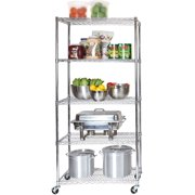 """Seville Classics UltraDurable Commercial-Grade 5-Tier NSF-Certified Steel Wire Shelving with Wheels, 36"""" W x 18"""" D, Chrome"""