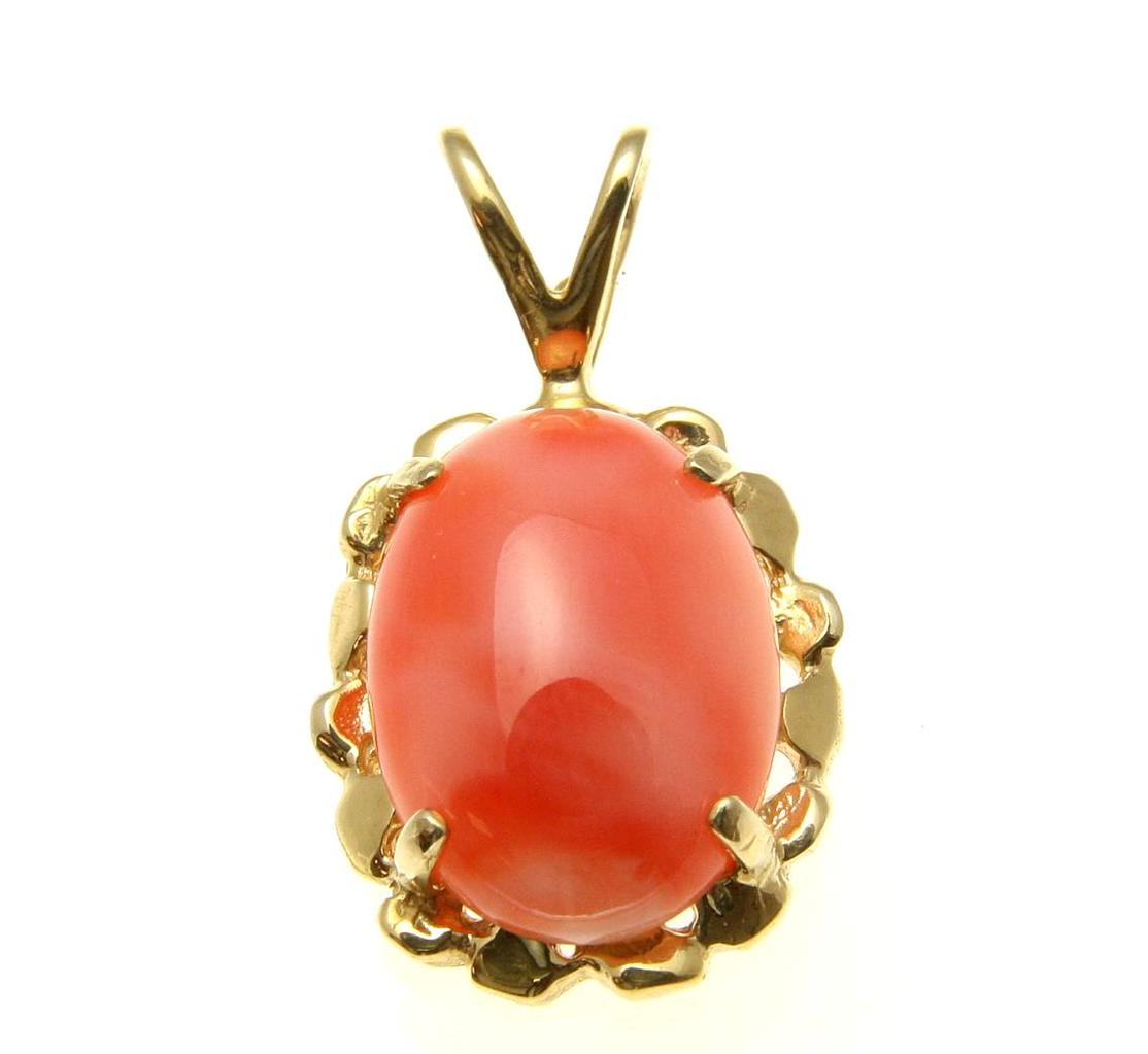 Geniune natural pink coral pendant set in solid 14k yellow gold 14.5mm by