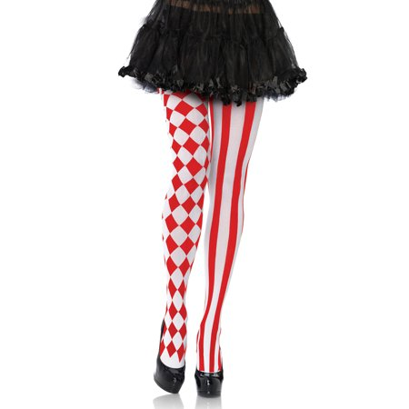 Women's Harlequin Pantyhose, Red/ White, One - Harlequin Tights